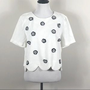 Endless Rose Top White Floral Short Sleeve